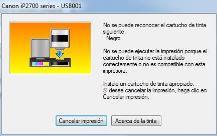 Impresora canon ip2700 no reconoce cartucho